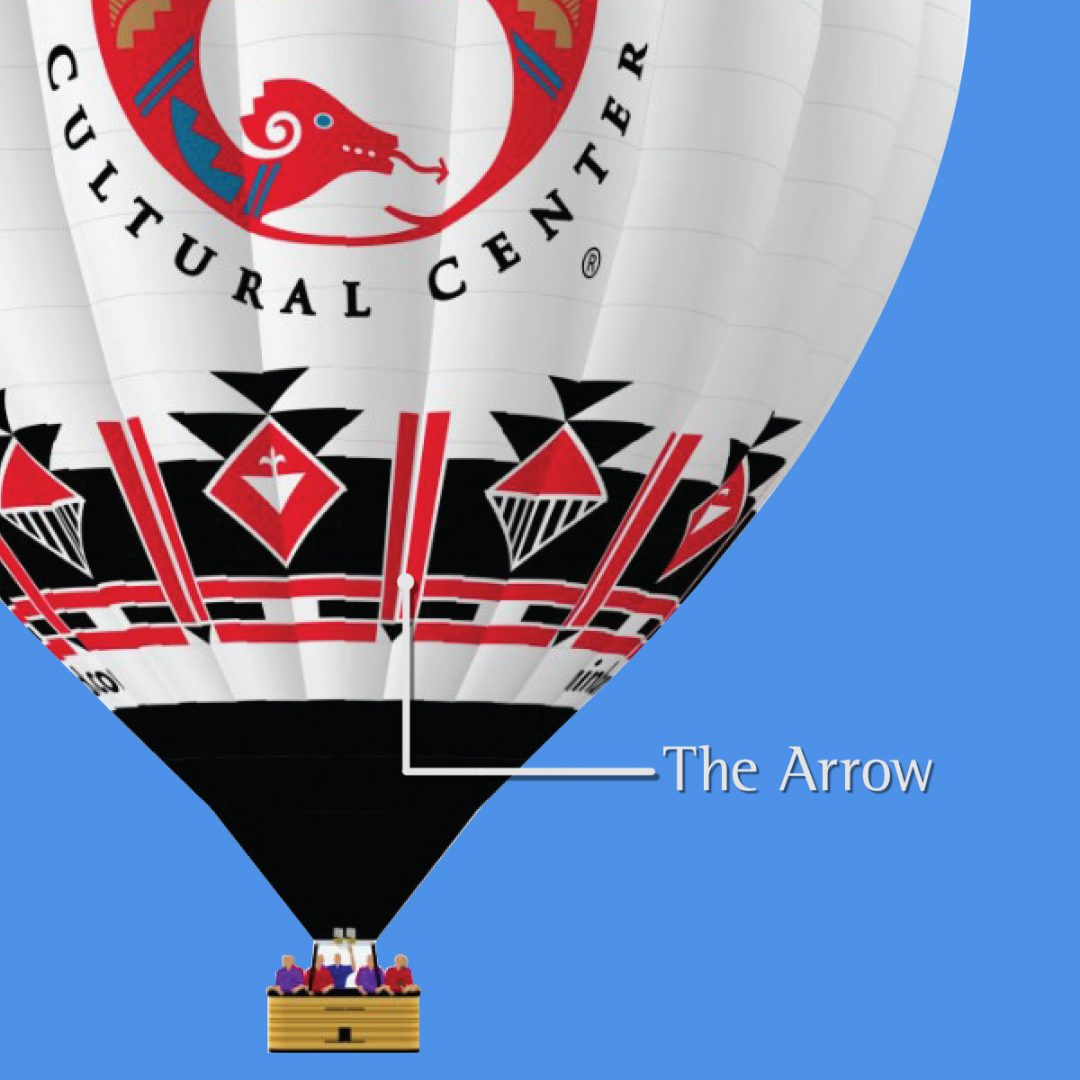 Arrow in IPCC's hot air balloon design meaning
