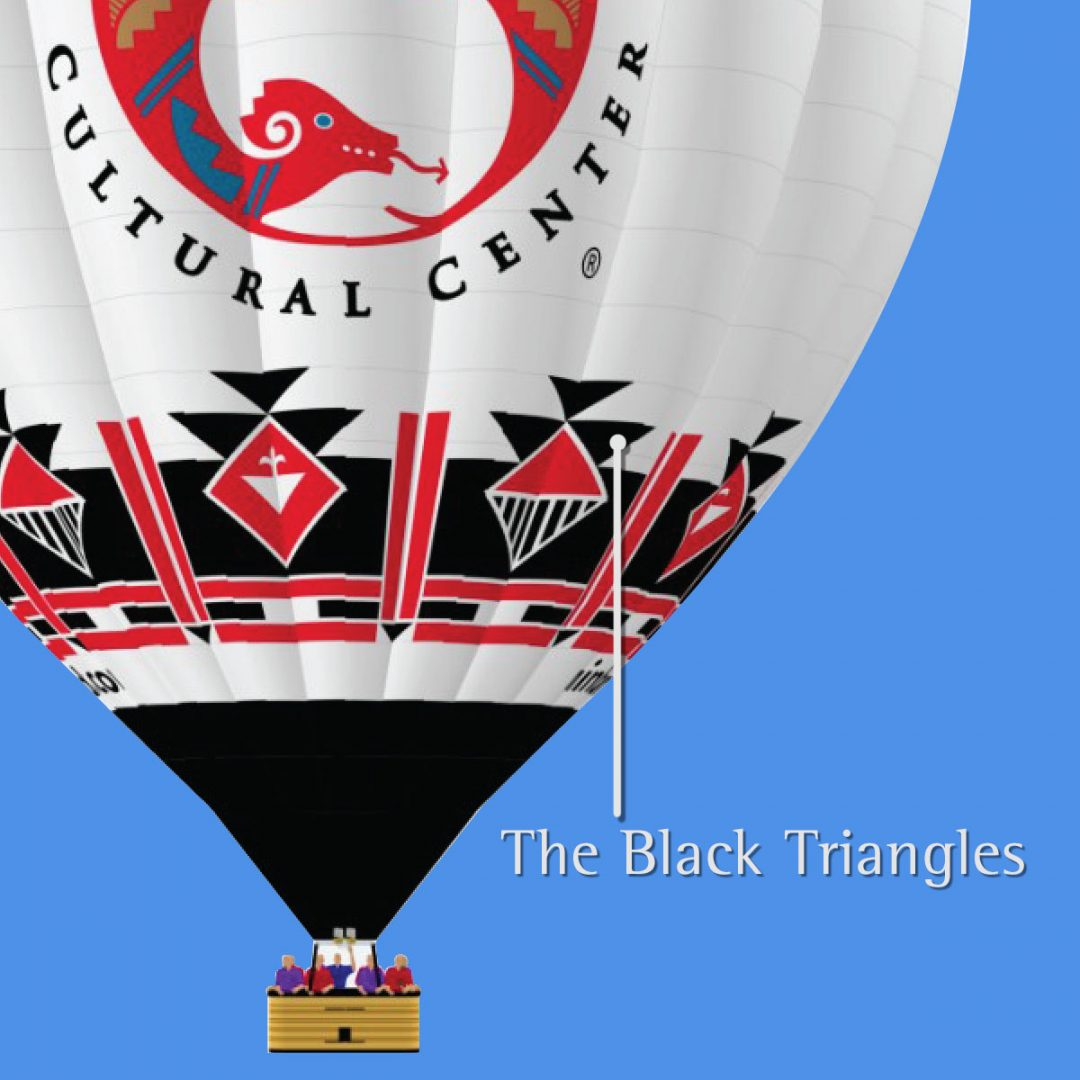 Black triangles on indian pueblo cultural center balloon meaning