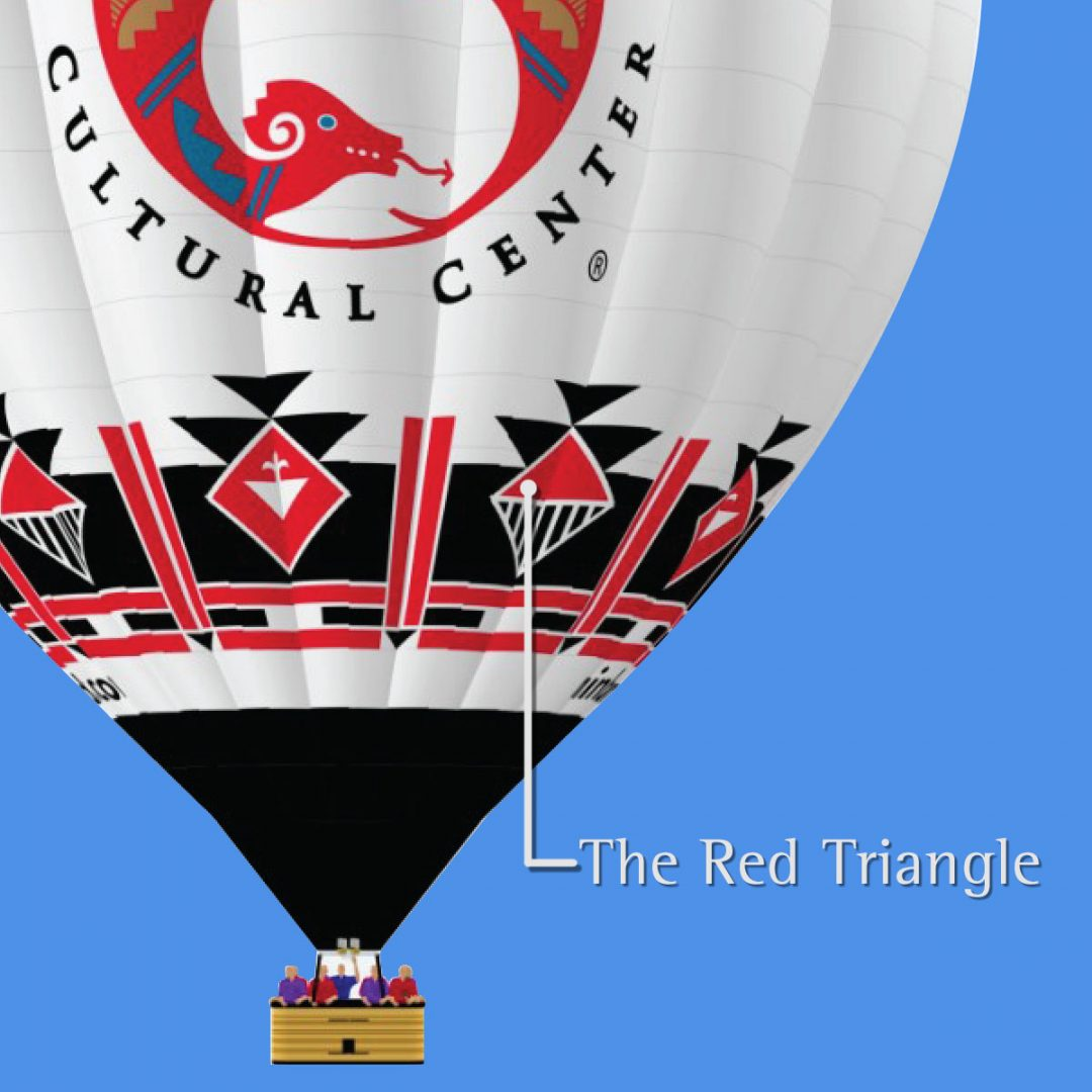 Red Triangle meaning in indian Pueblo Cultural Centers hot air balloon