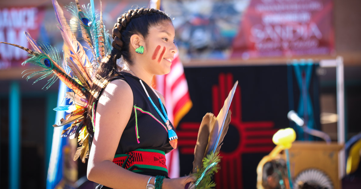 Indigenous Peoples Day Dancer at the Indian Pueblo Cultural Center
