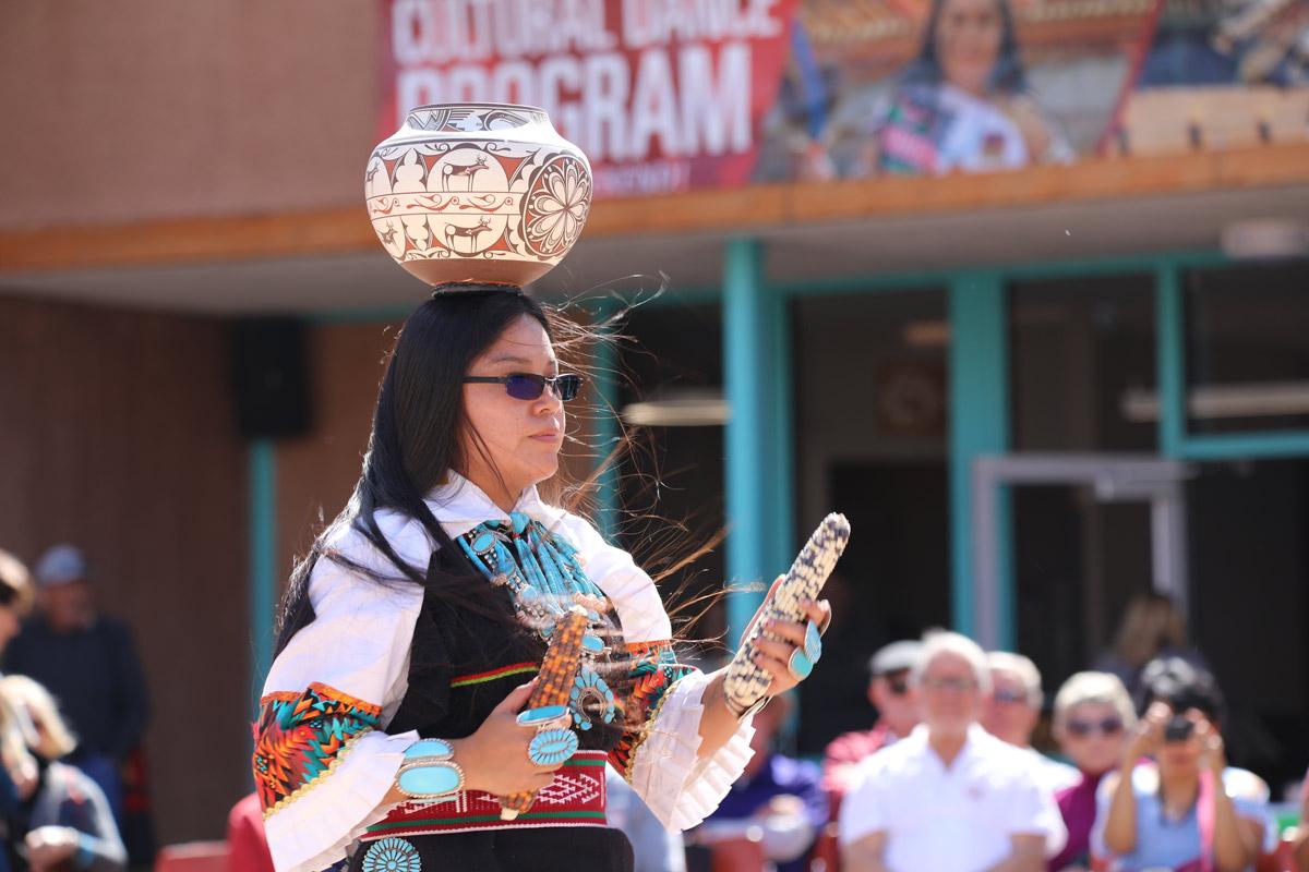 Zuni Olla Maiden Dancer at Balloon Fiesta week at the Indian Pueblo Cultural Center